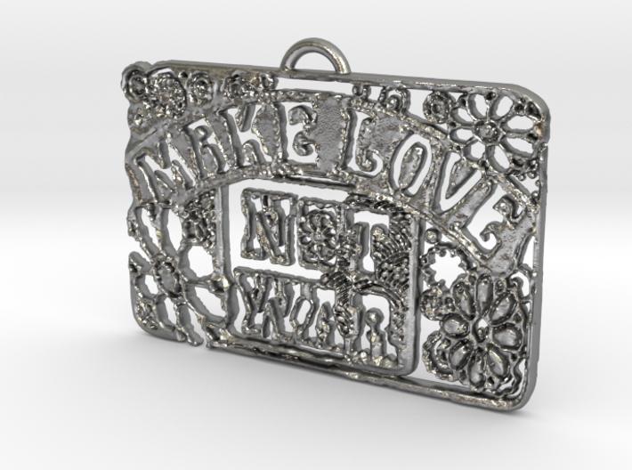 Make Love Not War Pendant 3d printed