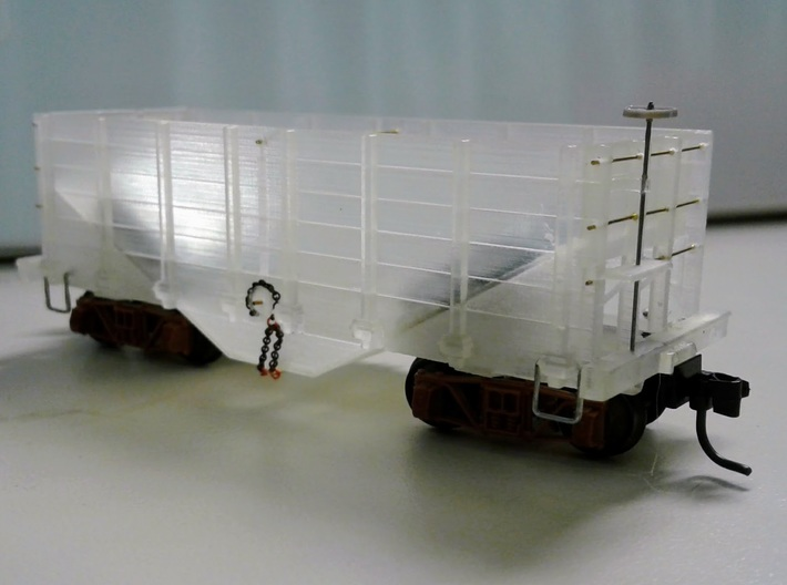 HOn3 hopper/ore car 3d printed Assembled hopper car.