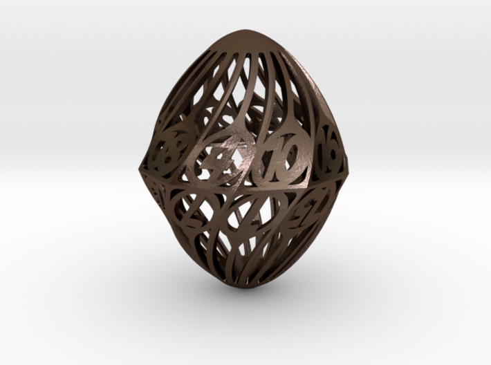 Twisty Spindle d20 3d printed