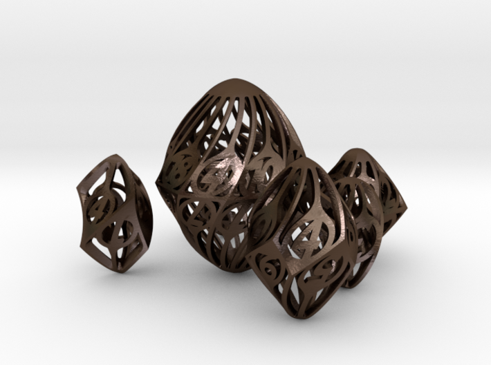 Twisty Spindle Dice Set 3d printed