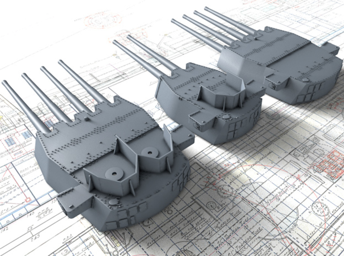 "1/400 HMS King George V 14"" MKVII Guns 1941 3d printed 1/400 HMS King George V 14"" MKVII Guns 1941"