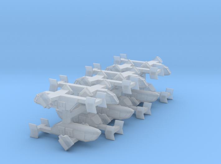 3mm Sci-Fi Transport VTOLs (12pcs) 3d printed