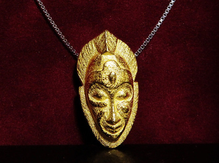 African Mask Necklace 3d printed Polished Gold steel - Small