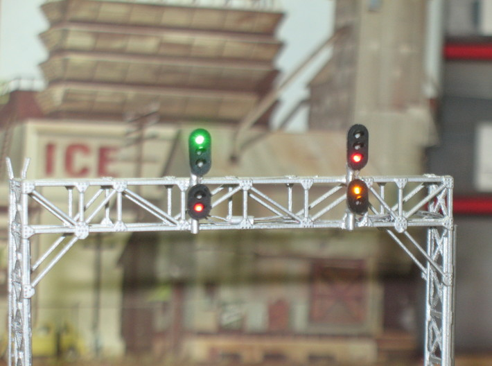 N Scale Signal Bridge Gantry 3 tracks 2pc 3d printed Painted and signalled gantry by Custom Signal Systems