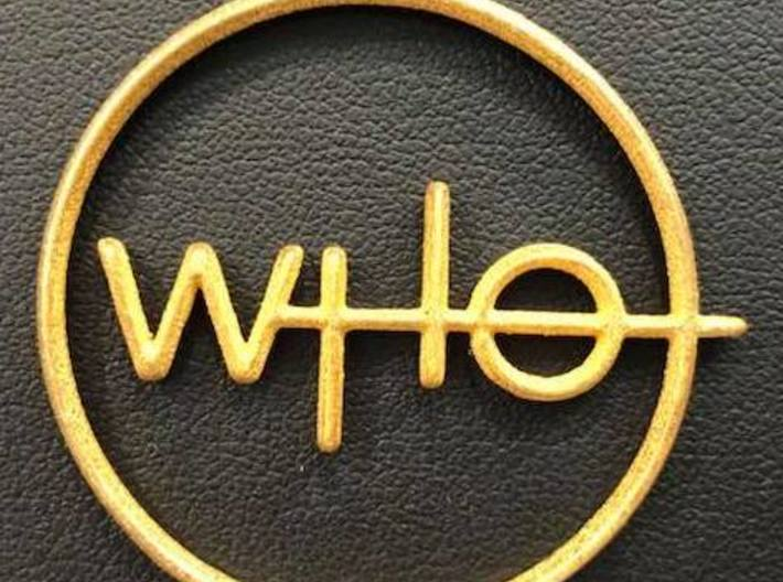 Who Pendant 3d printed Polished Gold Steel
