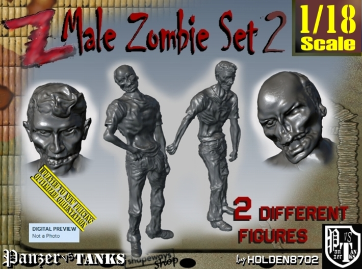 1-18 Male Zombie Set2 3d printed