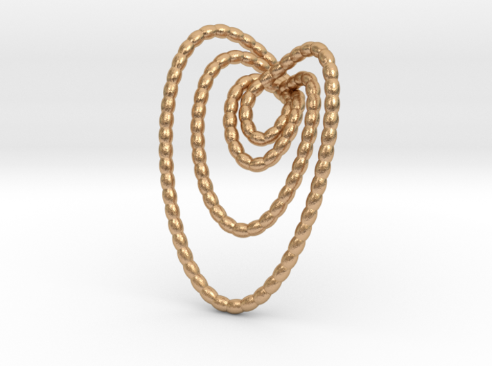 Hearts beads pendant necklace 3d printed pendant necklace in bronze