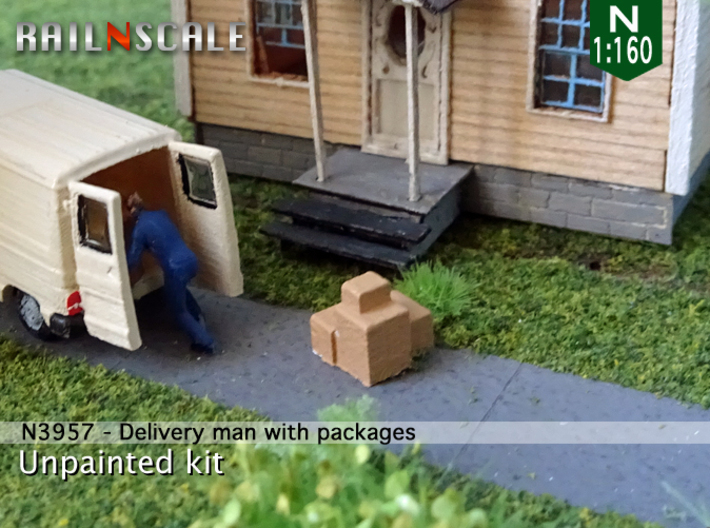 Delivery man with packages (N 1:160) 3d printed