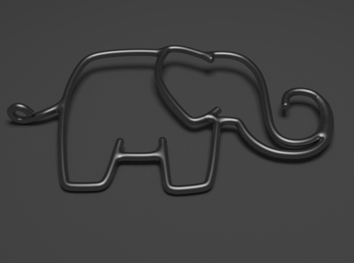 Linking Elephants Necklace 3d printed