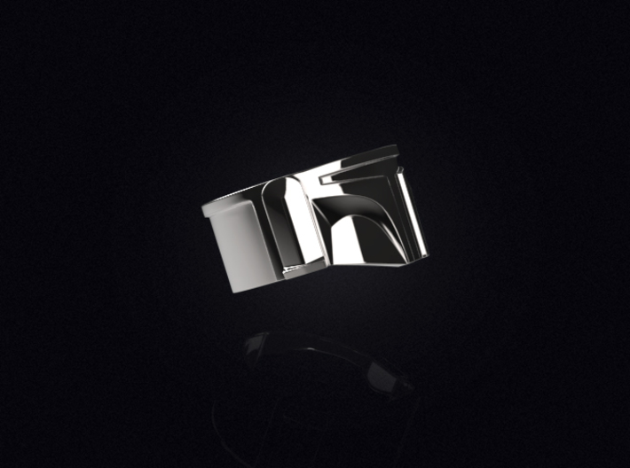 Bounty Hunter Helmet Ring 3d printed 3D visualization of the ring in Premium Silver