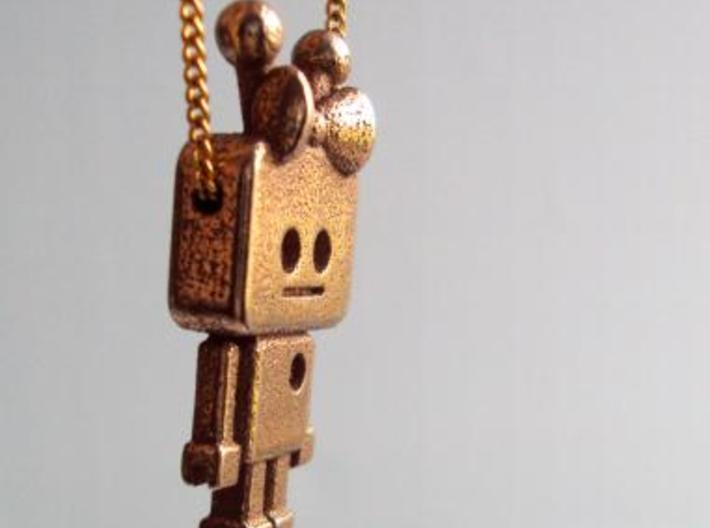 tiny Girl Robot pendant 3d printed Stainless Steel