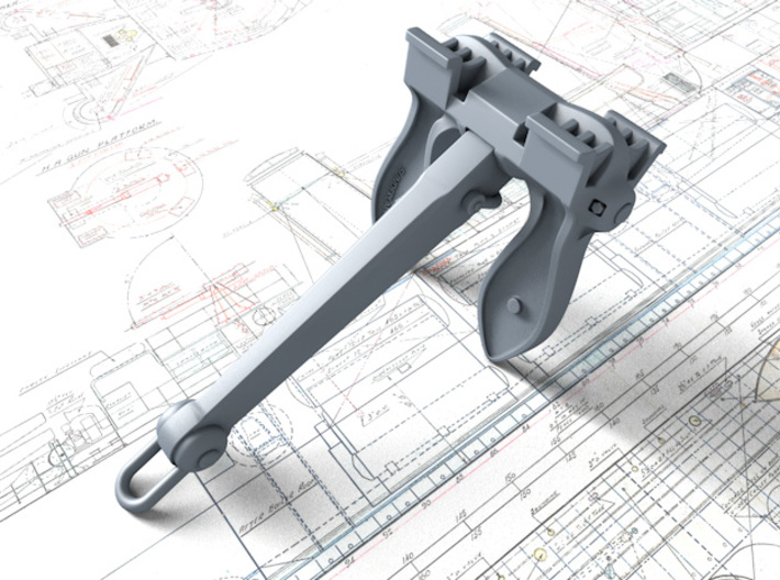1/192 RN Byers Stockless Anchors 75cwt x2 3d printed 3d render showing product detail