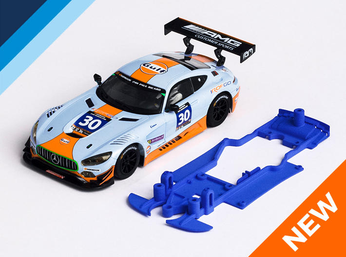 1/32 Scalextric AMG Mercedes GT3 Chassis S.it pod 3d printed Chassis compatible with Scalextric AMG Mercedes GT3 body (not included)