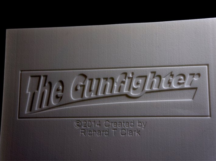 The Gunfighter (Large) 3d printed This is the bottom of the base with Title and Name.