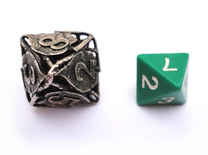 Botanical Die8 (Lilac) 3d printed In comparison to a standard d8