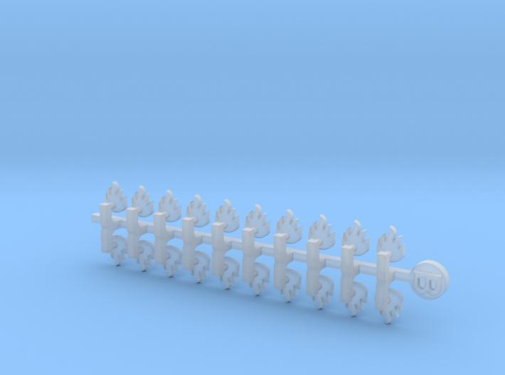 20x Dragon Legion Flame : Small Bent Insignias 3d printed