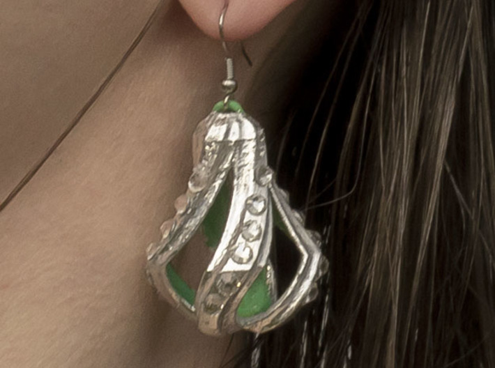 Edge Droplet twister 3d printed Silver leaf and crystals added