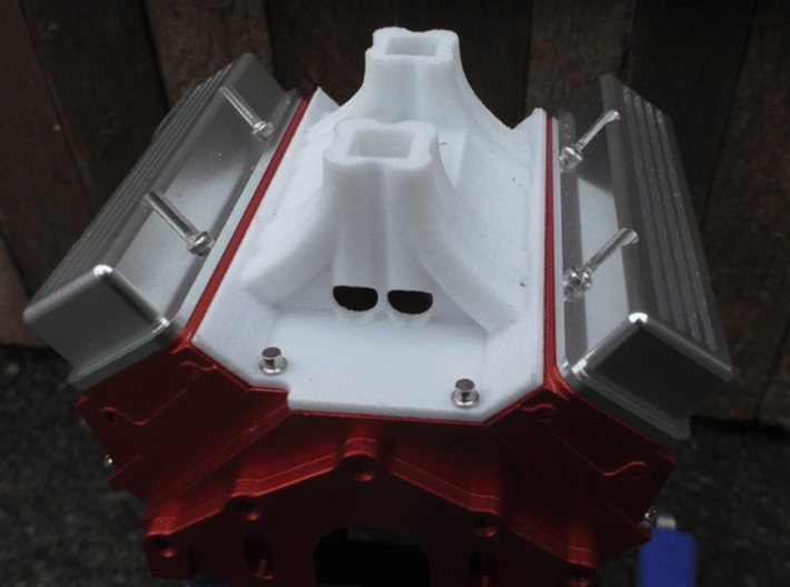 Tunnel Ram Base. Fits RC4WD V8 Engine. 3d printed Rear view. Attached to RC4WD V8 (not included)
