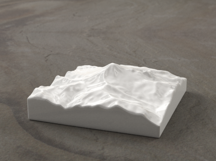 4'' Mt. Baker, Washington, USA, Ceramic 3d printed Radiance rendering of model data, looking SSE