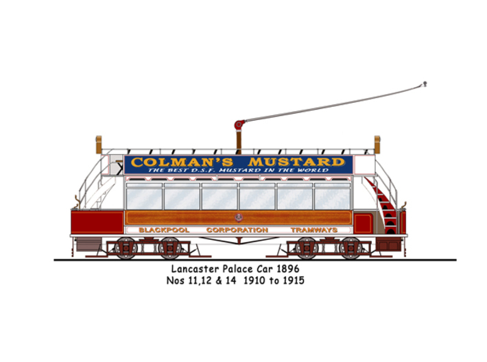 OO scale Lancaster Palace Upper Deck Open Unmodifi 3d printed Line drawing of tram