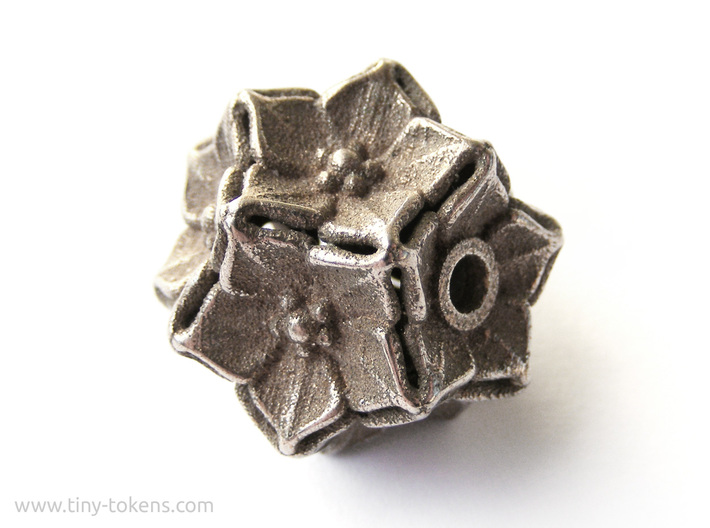 Floral Bead/Charm - Dodecahedron 3d printed Untreated Polished Bronzed-Silver Steel