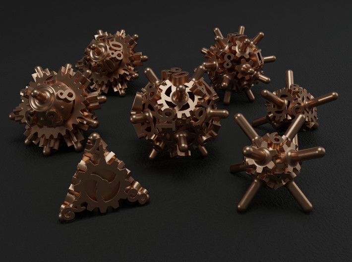 Clockwork Gears Dice 3d printed
