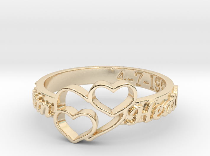 Anniversary Ring with Triple Heart - April 7, 1990 3d printed