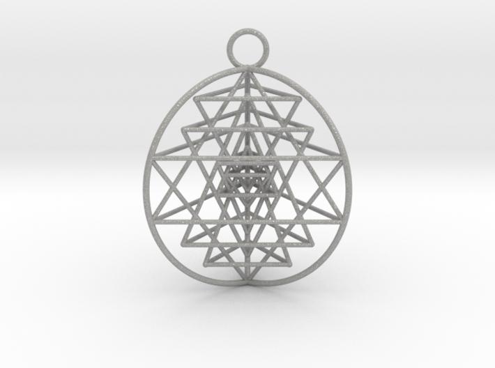 "3D Sri Yantra 3 Sided Optimal 1.5"" Pendant 3d printed"