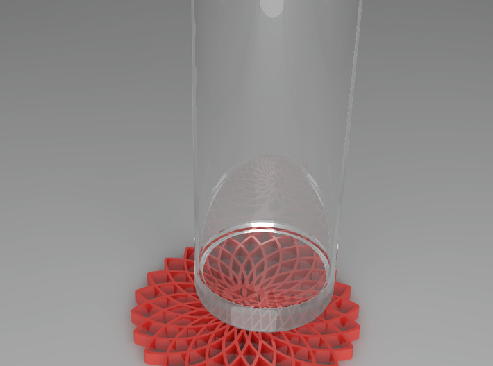 Dreamcatcher Coaster 3d printed Shown in red
