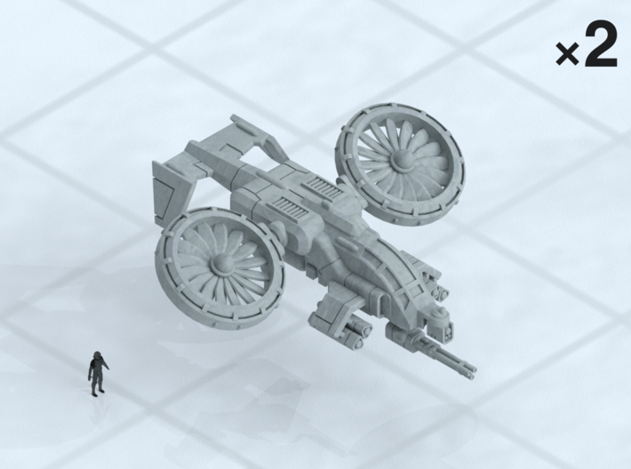 """6mm Light VTOL Missile Gunship (2) 3d printed Shown on 1"""" grid with 6mm figure (not included) for scale."""