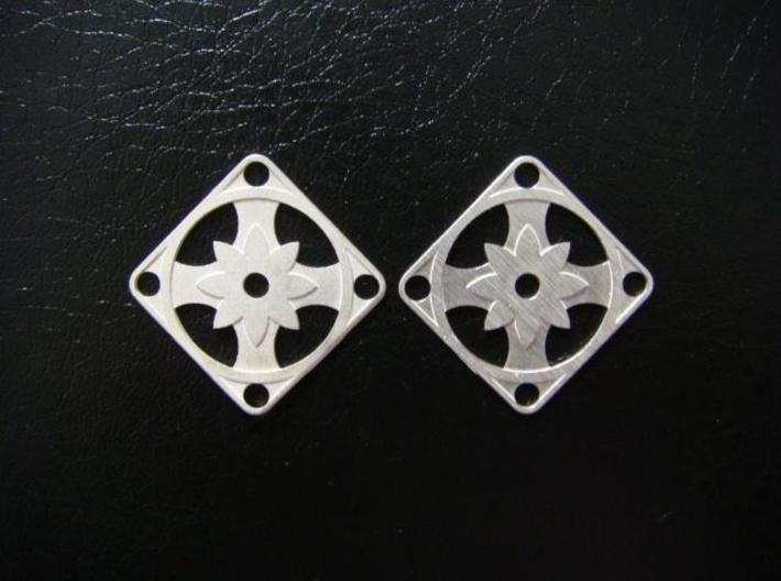 Elegant Earrings - Eight Petal Supported 3d printed Sterling Silver