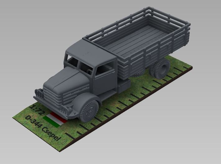 1/72nd scale Csepel D-344 truck 3d printed Rendered image.