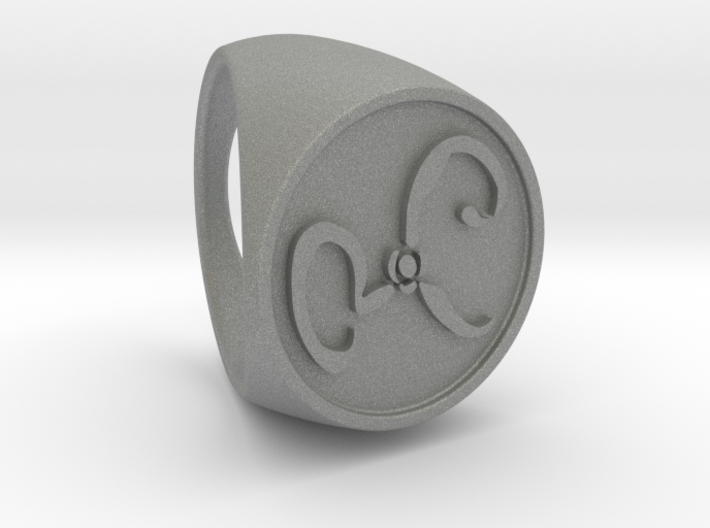 Yellow Sign Signet Ring Size 16 3d printed