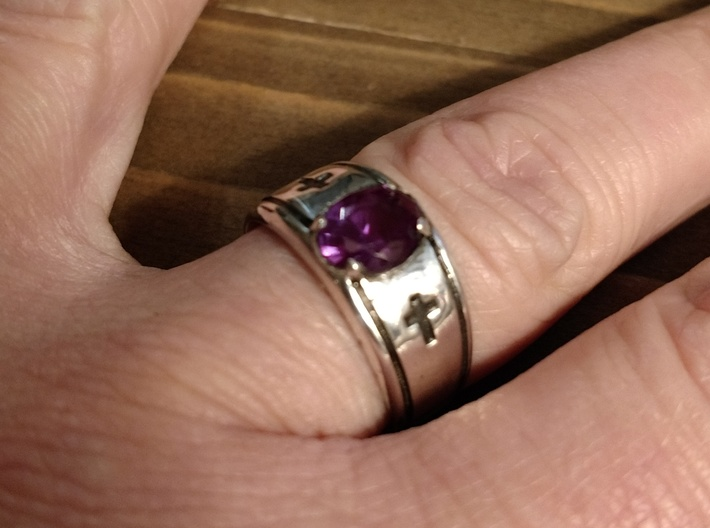 Cross Gents Ring 3d printed Shown with Alexandrite and antiquing