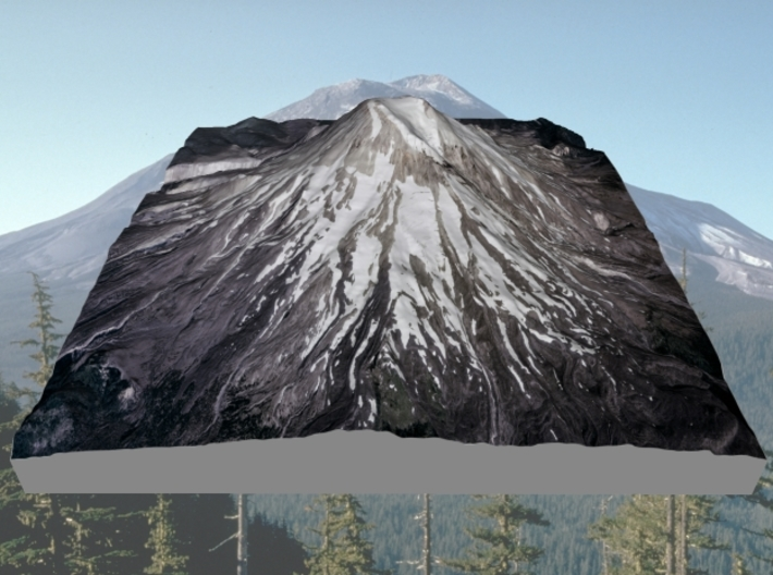 """Mount St. Helens (Pre-1980) Grayscale: 6""""x6"""" 3d printed"""