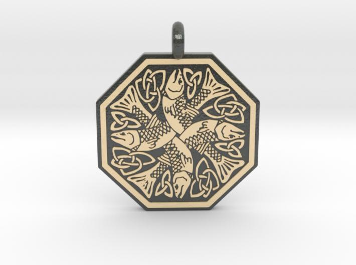 Fish Celtic Octagonal Pendant 3d printed