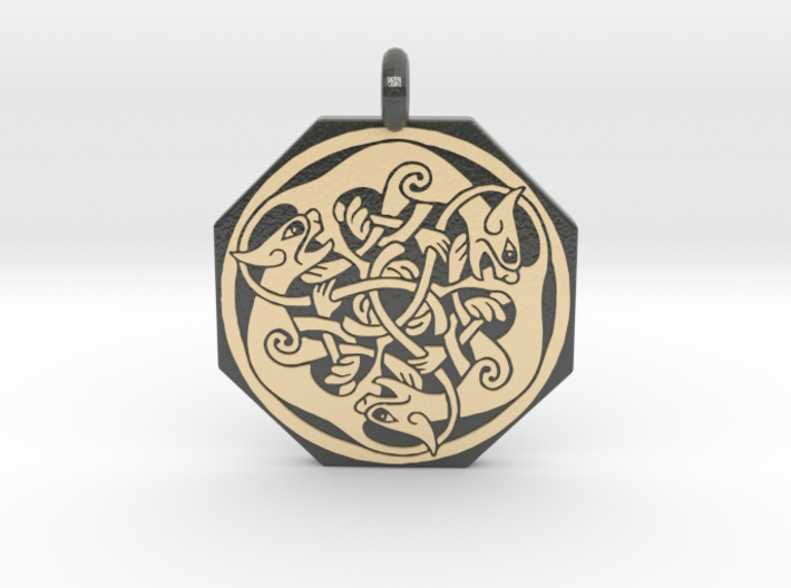 Cat Celtic Octagonal Pendant 3d printed