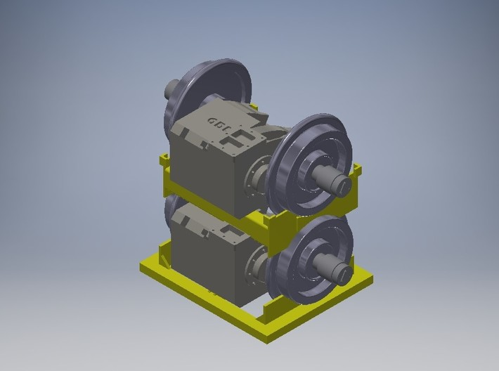 HO Traction Motor Assy 3d printed Here is the complete unit Traction Motors, Upper & Lower Cradles