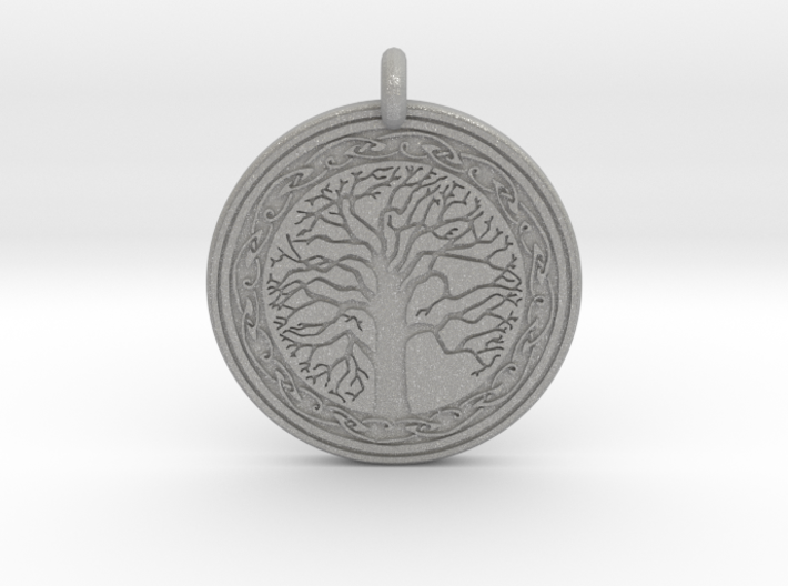Sacred Tree Of Life Round Pendant 3d printed