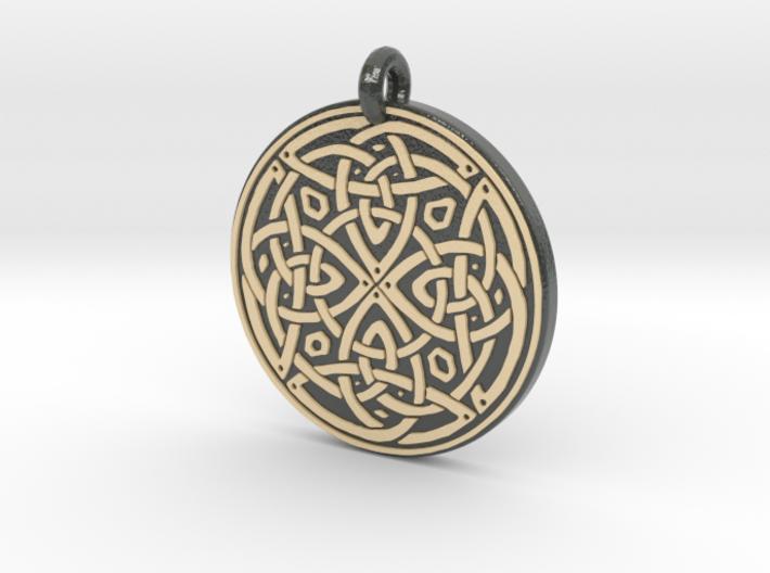 Celtic Spiritual Journey round Pendant 3d printed
