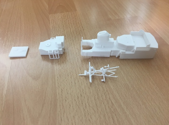 Thetis, Superstructure (1:200, RC) 3d printed set of printed parts for Thetis superstructure