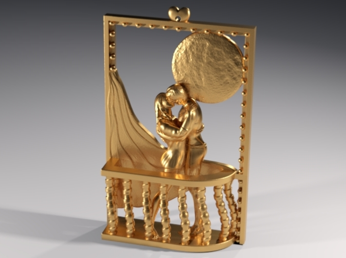 Romantic mood at full moon 3d printed Polished Brass