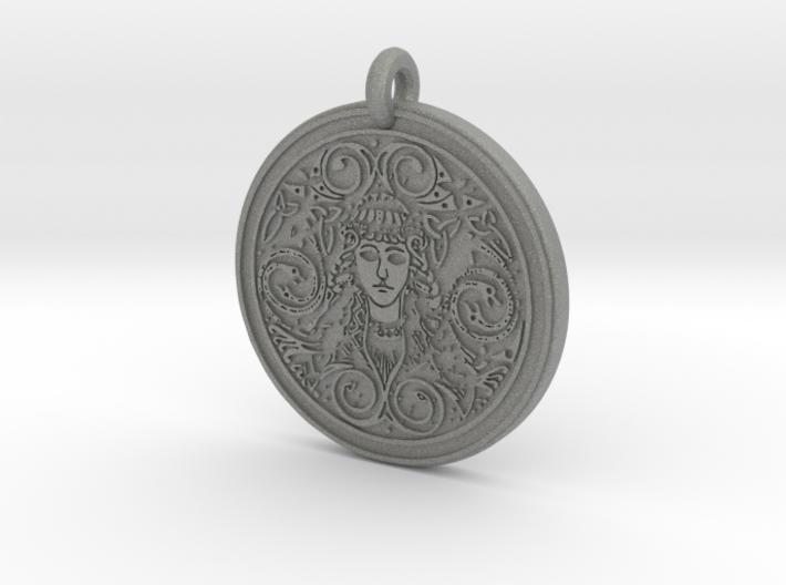 Brigantia Goddess Round Pendant 3d printed