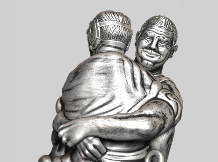 Swiss wrestling - 50mm high 3d printed Antique Silver