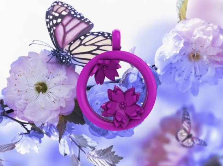 Cherry Blossom 1 Inch Pendant 3d printed Matching Tunnels available.