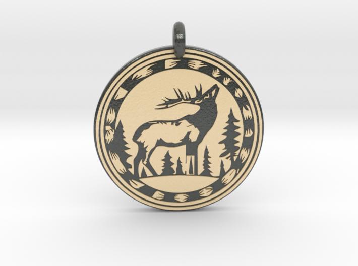 Elk Animal Totem Pendant 3d printed