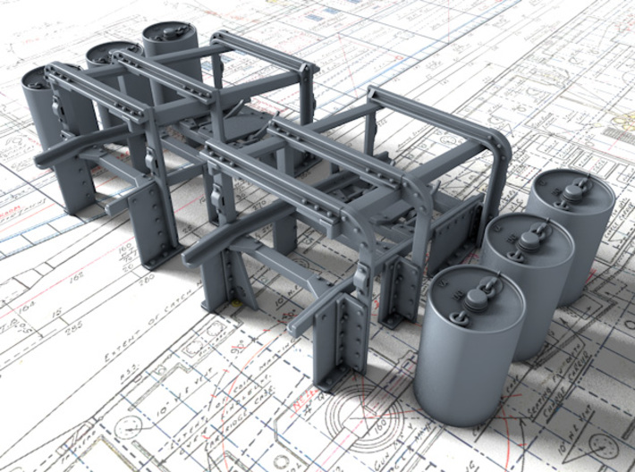 1/72 Royal Navy Small Depth Charge Racks x2 3d printed 3D render showing product detail
