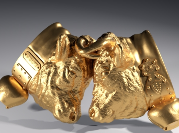 Swiss cow fighting #B - 25mm high 3d printed Polished Brass