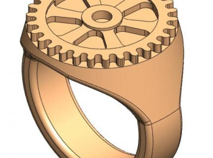 Gear Anti-Signet Ring 3d printed