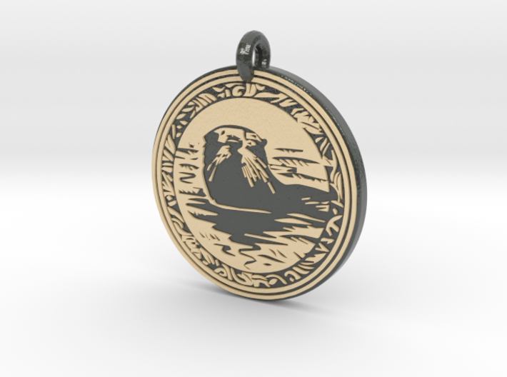 Sea Otter Animal Totem Pendant 3d printed